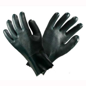 Green PVC Hand Safety Gloves pictures & photos