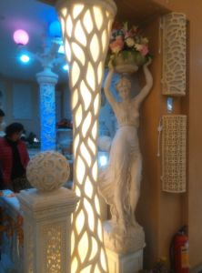 LED Light Sandstone Resin Sculpture Columnar Lantern with Loudspeakers pictures & photos