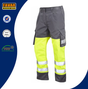 Poly/Cotton Mens Multi Pockets Work Pants with Reflective Tape