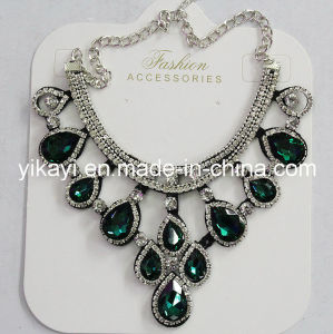 Lady Fashion Jewelry Green Waterdrop Glass Crystal Pendant Necklace (JE0211-green) pictures & photos