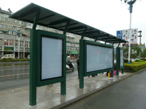 Modern Metal Painted Bus Stop Shelter Canopy Booth Kiosk pictures & photos
