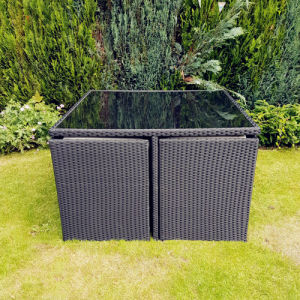 Practical Black PE Rattan Garden Dining Cube Set pictures & photos