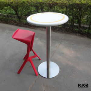 Round Artificial Stone High Bar Table for Convenient Store pictures & photos