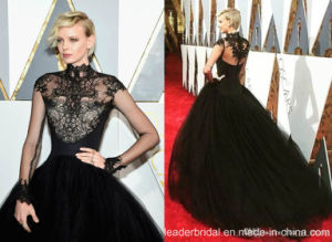 Oscar Celelbrity Dresses Black Tulle Long Sleeves Puffy Party Prom Dresses T92378 pictures & photos