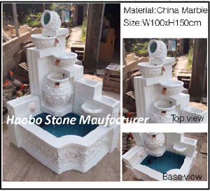China White Marble Water Fountain for Sale pictures & photos