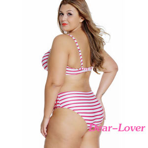 Fashion Plus Size Striped Curvy Underwire Swimsuit pictures & photos
