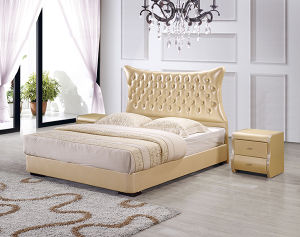 Well Sell Modern Crystal Leather Bed with Lift up Storage pictures & photos