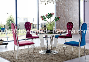 5 People Round Tempered Glass Table Home Furniture pictures & photos