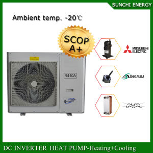 Europe Cold -25c Winter Heating Room + Dhw Evi Tech R407c 12kw/19kw/35kw/70kw/105kw Monobloc Compact Air Heat Pump Water Heater pictures & photos