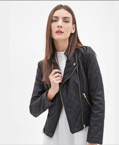 OEM High Quality Long Sleeve Zippered Women Leather Jacket pictures & photos