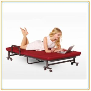 Adjustable Wheeled Bed with Mattress 190*65cm Wine Red Color/Single Bed pictures & photos