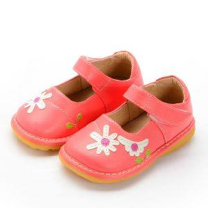Watermelon Red Baby Squeaky Shoes Handmade Flower Shoes
