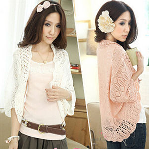 High Quality Women′s Knitwear Batwing Sleeve Hollow out Knitted Cardigan pictures & photos