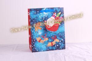 Paper Gift Bag with Santa Claus Printing