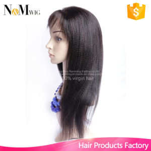Italian Yaki Full Lace Human Hair Wig Brazilian Yaki Straight Lace Front Wig Silk Top Full Lace Human Hair Wig for Black Women pictures & photos
