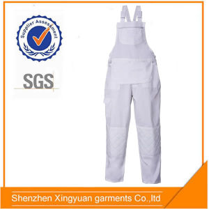 Star Sg Durable Men′s 100% Cotton Painters White Bib Overalls with Elasticed Waist