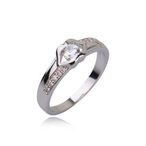 New White CZ Stone Wedding Rhodium Color Diamond Engagement Jewelry Ring -10590 pictures & photos