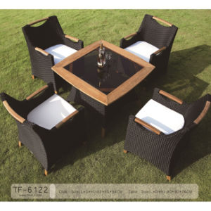 Unique Design Specific Use Wooden Grass Table and Rattan Chair Set