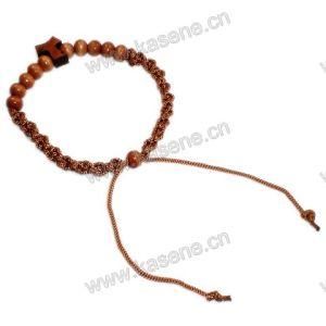 Cheap Wood Beads Cord with T Shape Cross Bracelet