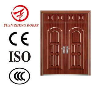 Spanish Steel Double Main Entrance Wooden Color Door Design pictures & photos