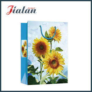 Promotional Coated Paper 4c Printed Sunflowers Shopping Gift Packing Bags pictures & photos