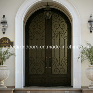 Hand Forged Round Top Wrought Iron Front Entry Door (UID-D011) pictures & photos