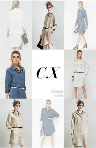 Pure Color Loose Long-Sleeved Shirt Dress pictures & photos