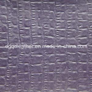 Crocodile Design Fur Backing Semi-PU Leather (QDL-52084) pictures & photos