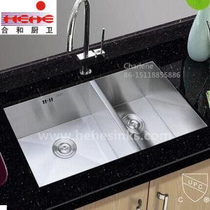 Zero Corner Square Double Bowl Handmade Sink, Handcraft Sink, Undermount Kitchen Sink (HMSD3318L) pictures & photos
