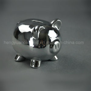 Ceramic Electroplating Lovely Piggy Bank, Silver Coin Bank pictures & photos