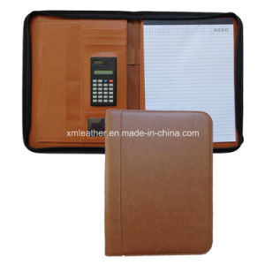 Office A4 Leather Compendium Folder with Zip up pictures & photos