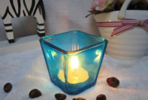 Free Sample Square Tea Light Glass Candle Jar for Home Decor pictures & photos