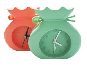 Promotional Cartoon Elephant Shape Fluorescent Color Logo Printed Silicone Desk Alarm Clocks pictures & photos