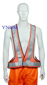 Orange Reflective Safety Vest with Grey Reflective Tape pictures & photos