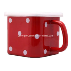 Personalized Making Square DOT Decora Enamel Mug Cup pictures & photos