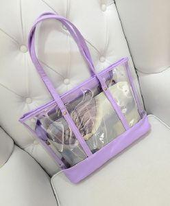 2017 New Arrival Transparent Hand Bag PU Tote Fashion Shoulder Bag Hcy-5070