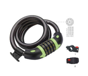 High Quality Bicycle 4 Digit Cipher Code Cable Lock (HLK-012) pictures & photos