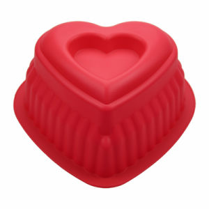 Heart Shaped Heat Resistant FDA/LFGB Food Grade Silicone Cake Baking Mold Red pictures & photos