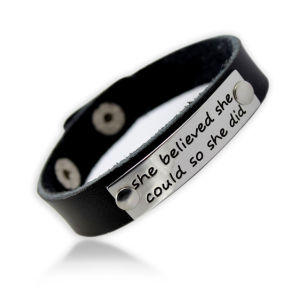 Wide PU Leather Bracelet with Custom Engraving Metal Part