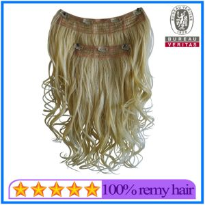 Blond Color Clip Hair Extensions Brazilian Remy Human Hair pictures & photos