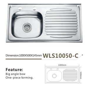 Stainless Steel Kitchen Sink Single Bowl with Drain Board One Piece -Wls10050-C