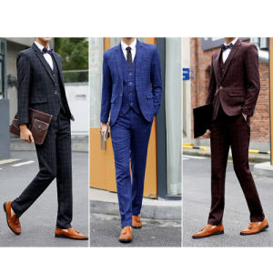 Men′s One Button Stretch Performance Solid Business Suit pictures & photos