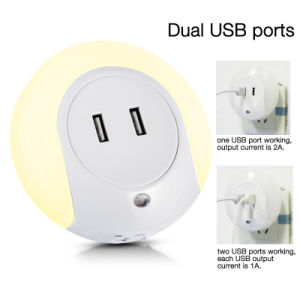Fashion LED Light Dual USB Wall Charger for Mobile Phone Tablet PC pictures & photos