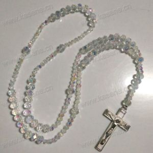 Professional Factory Catholic Clear Faceted Crystal Religious Cord Rosary pictures & photos