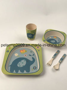 Eco Friendly 5 Pieces Kids Bamboo Fiber Dinnerware Set pictures & photos