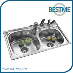 Hot Sale Stainless Steel Double Bowl Kitchen Sink (BS-955) pictures & photos