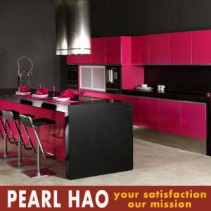 Pink Meet Black Fashion Lacquer Kitchen Cabinet pictures & photos