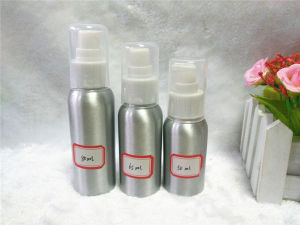 Silver 50ml Aluminum Bottle with White Sprayer and Clear Cap pictures & photos