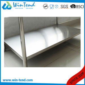 2 Layer Round Tube Shelf Reinforced Robust Construction Restaurant Utility Standing Working Table with Height Adjustable Leg pictures & photos