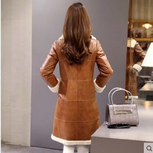 Women′s Lamb Leather and Shearling Coat Long Style pictures & photos